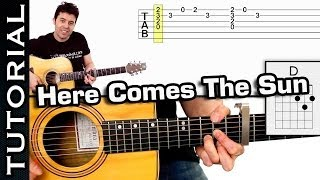 Como tocar Here Comes The Sun de THE BEATLES en guitarra FACIL Tutorial completo