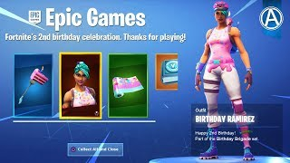 "NEW FREE ""BIRTHDAY BASH"" REWARDS! Fortnite 2nd Birthday Celebration (Fortnite Battle Royale LIVE)"
