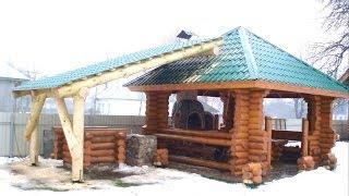 Беседка из оцилиндрованного бревна / Wooden gazebos