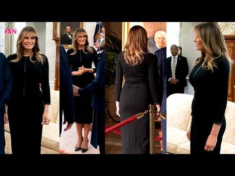 Melania Trump Totally Chic In A $1250 Black Long Sleeve Dress By Luxury Brand Escada
