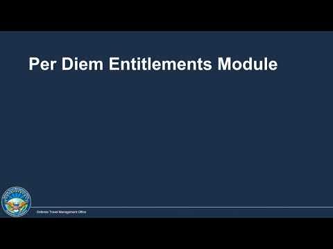 Authorizing Per Diem Expenses In DTS