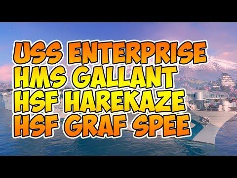 World of Warships новые корабли Enterprise, Gallant, HSF Harekaze и Graf Spee