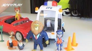 Jenny play 디즈니영화 주토피아 주디의 경찰위반 경찰차와 닉의 오픈카 장난감 놀이  Zootopia Toy Play set