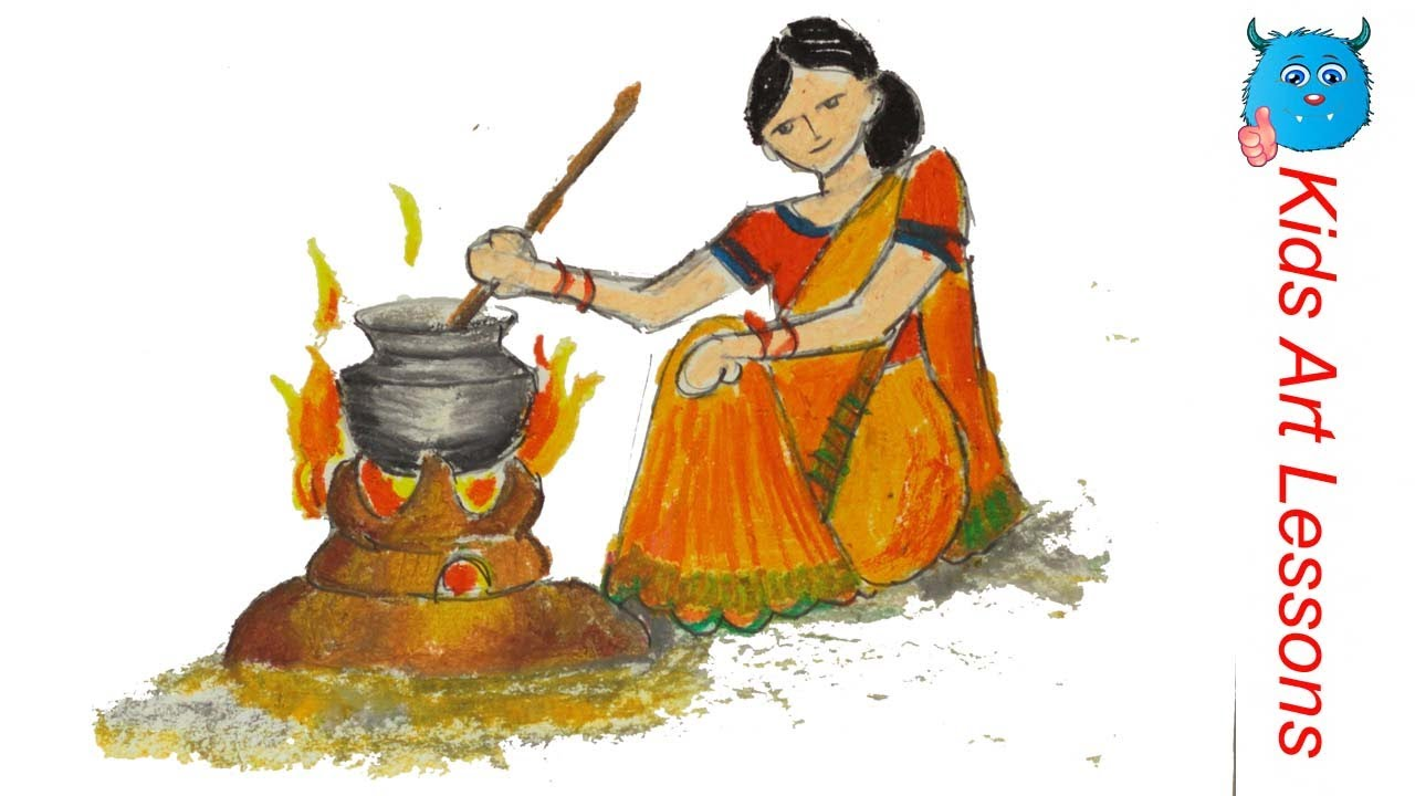 How To Draw A Figure Composition Of Village Woman In Sharee Cooking Youtube