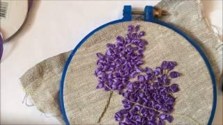 Сирень вышитая лентами (вышиваем каждый цветок отдельно)