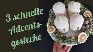 3 last minute Adventsgestecke/ Weihnachtsdeko/ Diy/ Adventskranz/ Blumenmeer