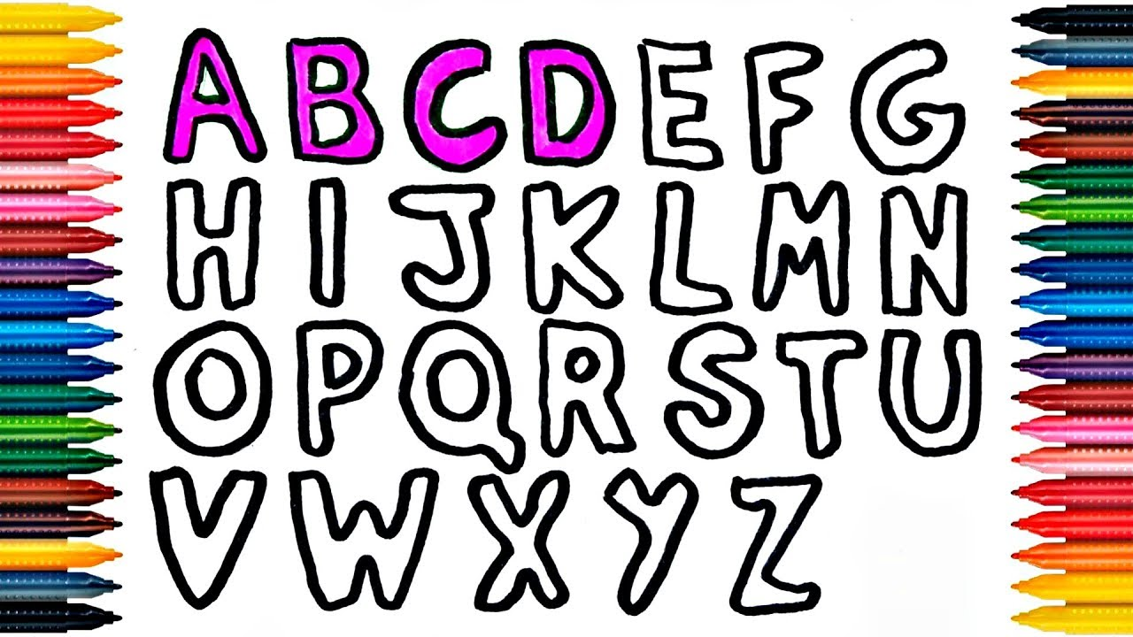 ABC Drawing ABC Coloring Page How to Draw and Paint ABC - YouTube
