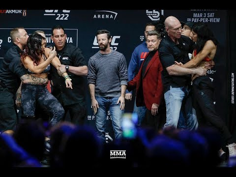 UFC 222 Cat Zingano vs. Ketlen Vieira Weigh-In Staredown - MMA Fighting