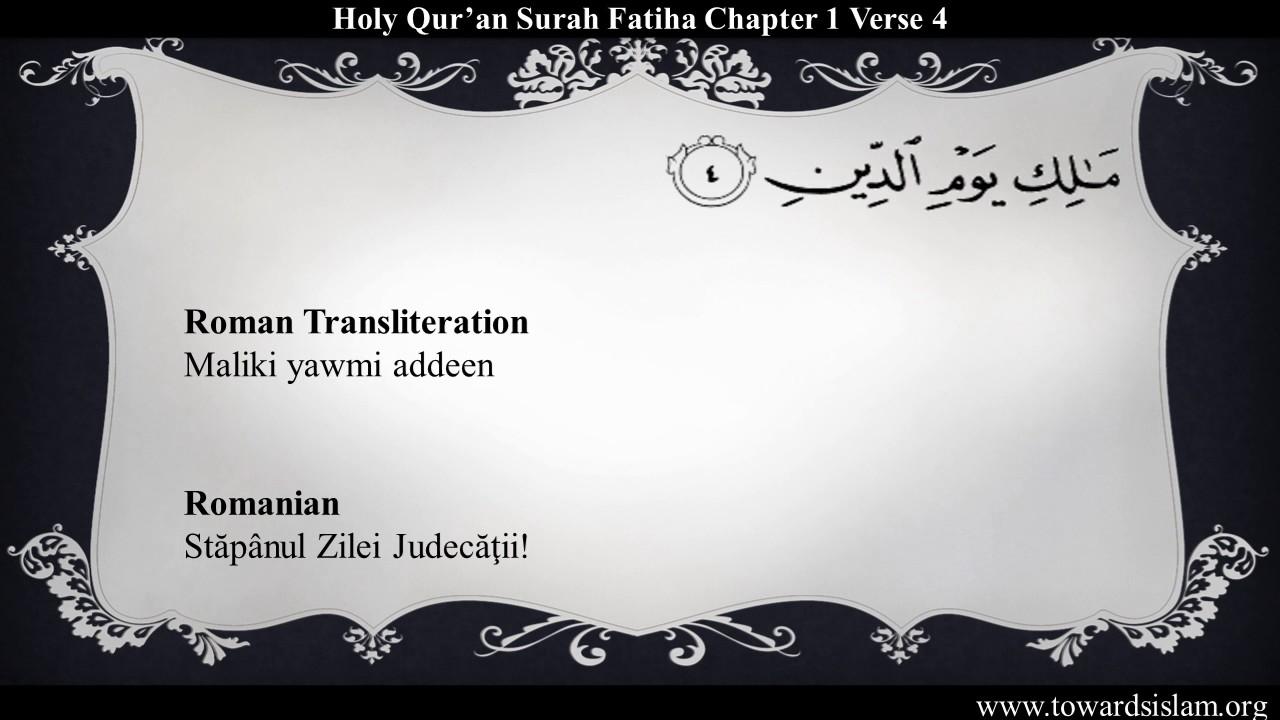 Quran 1: Surah Fatiha with Romanian Translation and Roman Transliteration