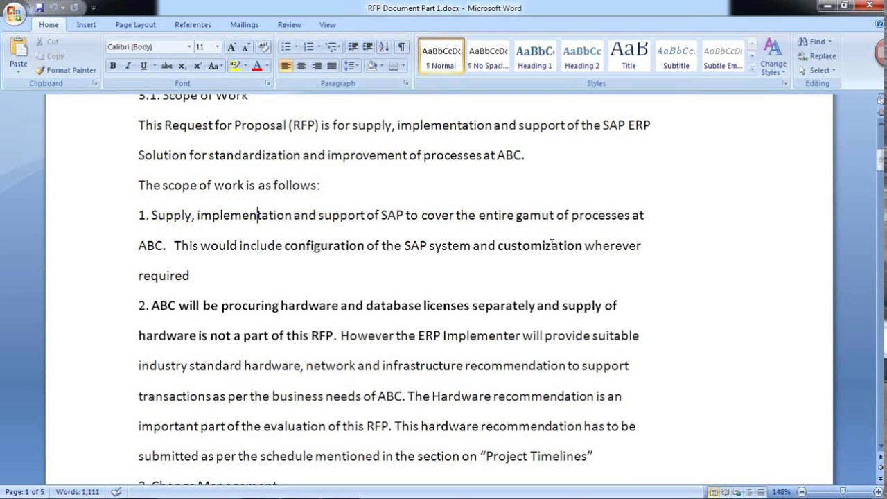 Sap Rfp Scope Of Work Project Deliverables Steering Committee