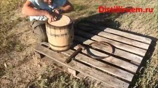 Восстановление и обжиг старой дубовой бочки
