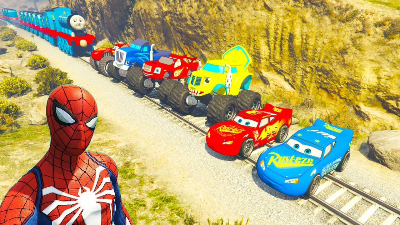 Monster McQueen Truck In Trouble With Thomas Train Spiderman GTA V