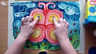 Рисуем пальчиковыми красками бабочку(Ищите еще больше уроков на сайте