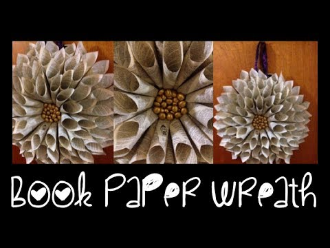 Diy Book Paper Cone Wreath ♡ Theeasydiy