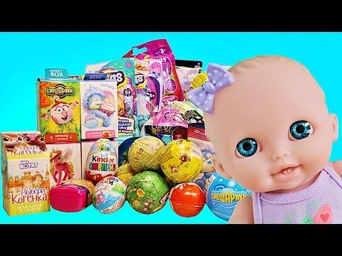 Видео: Куклы Пупсики Открывают Сюрпризы Маша и Медведь Смешарики Пони Зырики ТВ