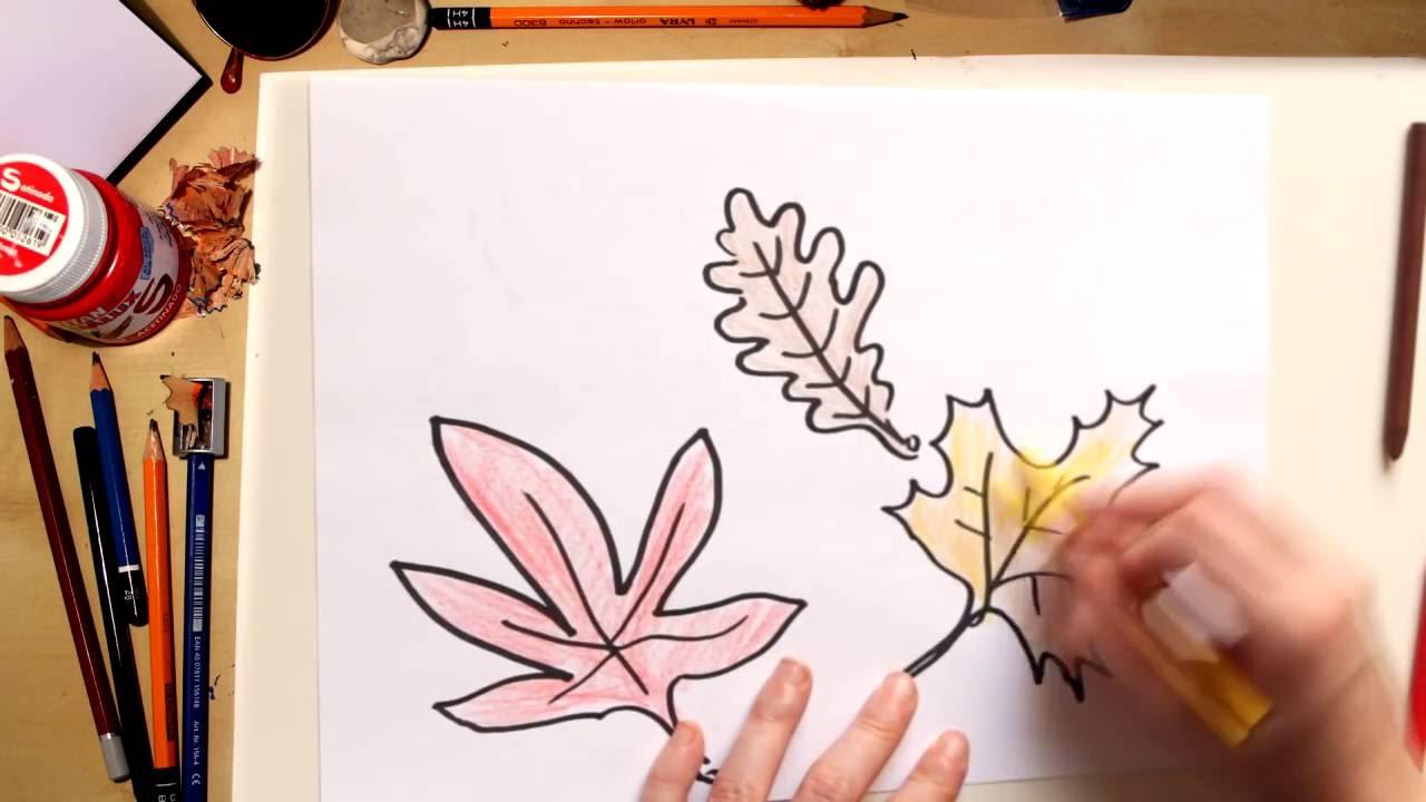 Como dibujar hojas de otoño Kawaii - dibujos de otoño para niños ...