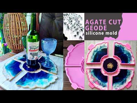 DIY Resin Geodes Coasters - Agate Cut Geode silicone mold  how to pour resin