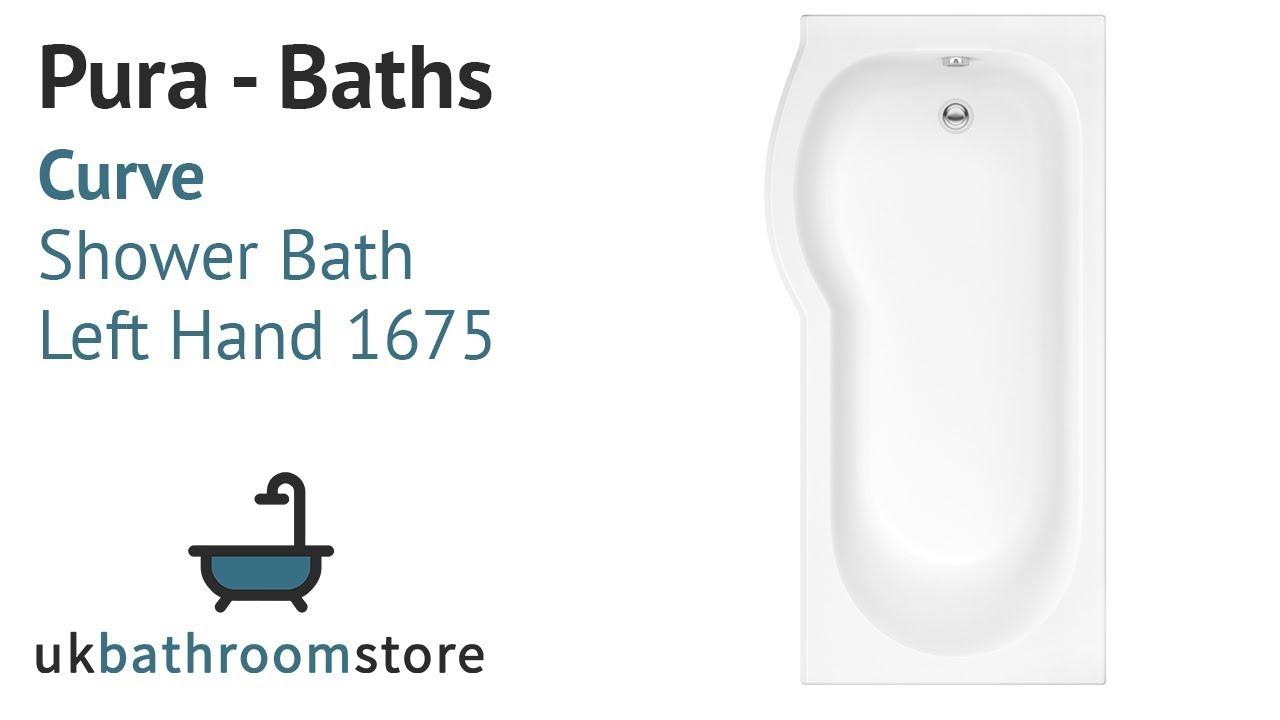 Pura - Curve Shower Bath Left Hand 1675 - PBCUSB1675LH - YouTube