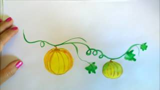 How Draw A Pumpkin | Watercolor Art workshop for beginners | Easy Step By Step Drawing & Painting