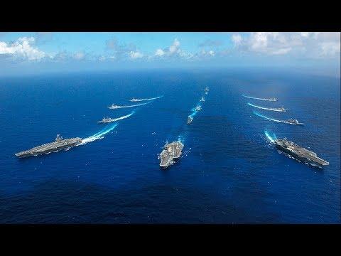 U.S. Navy Three Carrier Formation in Western Pacific Ocean | Three-Carrier Strike Force