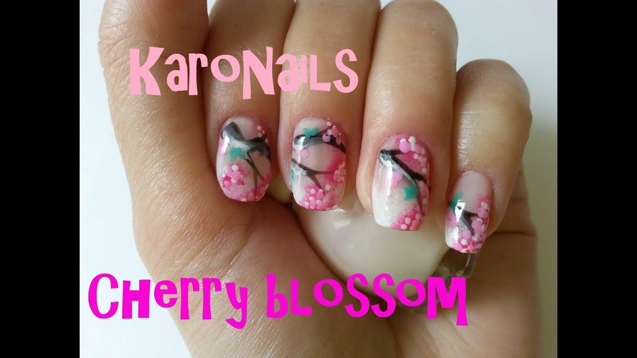 Nail art tutorial - cherry blossom design - YouTube