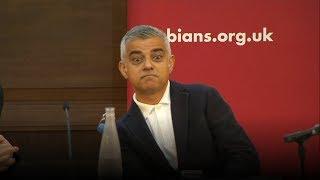 Sadiq Khan speech disrupted by Donald Trump supporters | ITV News