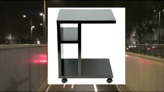 Homcom Modern Rolling End Table Nightstand - Dark Cherry