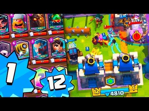 LEVEL 1 WITH ALL LEGENDARIES + LEVEL 12 CRUSHING IN 2 VS. 2!! INVINCIBLE DECK IN CLASH ROYALE