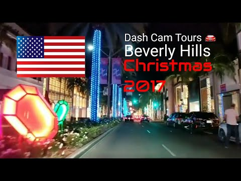 Dash Cam Tours 🚘 Beverly Hills decorated for Christmas 2017