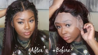 Baixar Ombre Burgundy FULL LACE WIG | French Braids Tutorial | UniWigs