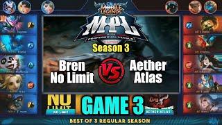 Game3 No Limit VS Aether Atlas | MPL PH S3 Regular Season