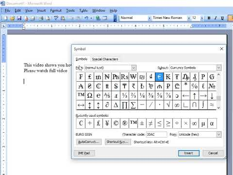 How To Insert Pound Sign In Ms Word Youtube