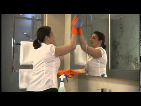 Bathroom safety for hotel housekeepers youtube for Housekeeping bathroom cleaning procedure