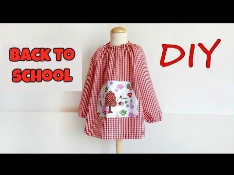 SEWING TUTORIAL:  Quick & Easy  DIY  sew a raglan sleeve art smock for babies