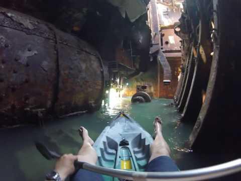 Kayaking inside an abandoned ship
