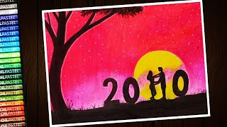 New year 2020 drawing step by step with oil pastel for beginners