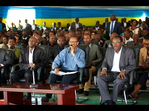 President Kagame speaking to thousands of residents gathered at Jabana sector- 11 November 2014