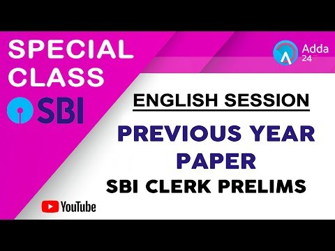 Previous Year Paper SBI CLERK PRELIMS   English   Online Coaching For SBI