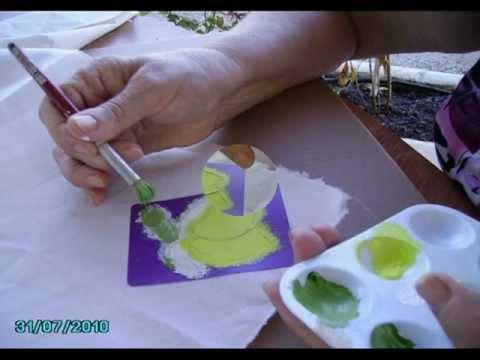 Decoraci n sobre tela pintado de motivos en tela youtube - Como pintar sobre tela ...