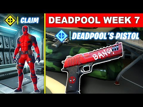 Fortnite Deadpool Week 7 Challenges! Find Deadpool's 2 Pistols, Enter A Phone Booth Or Portapotty