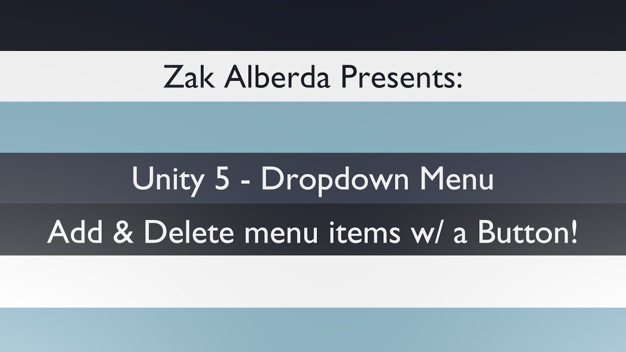 Unity 5 Dropdown: Add and Delete with a Button! - YouTube