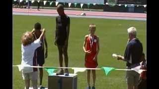 Icahn Stadium - Bantam Boys 200m - Adrian Taffe collecting his medal