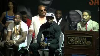 Adrien Broner vs. Shawn Porter final press conference- Broner goes crazy, Floyd loves it