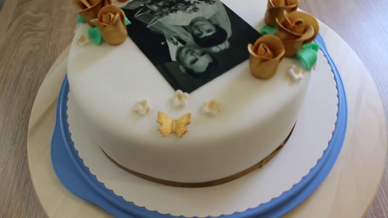Goldene Hochzeit Torte Fondant Foto Torte Goldene Rosen Youtube