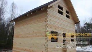 Строительство дома из бруса в полтора этажа(Строительство дома из бруса в полтора этажа, ссылка на проект http://www.sksmirnov.ru/doma/68.php., 2016-02-12T18:43:53.000Z)
