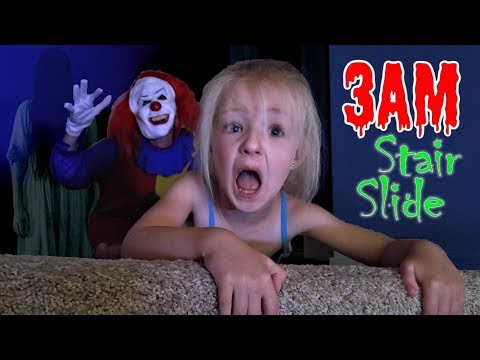 3AM Stair Slide GONE WRONG *OMG* Creepy Clown! SO SCARY!!! (Skit)