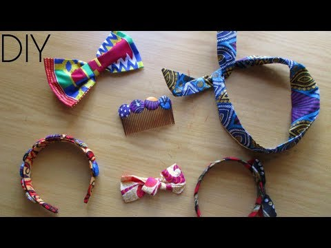 DIY African Print HAIR Accessories- 4 IDEAS!