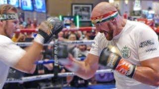 Tyson Fury THRASHES PADS! / FULL MGM Las Vegas PUBLIC WORKOUT vs. Otto Wallin