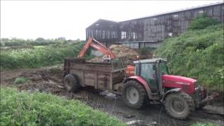 Emptying the Slurry Lagoon for Spreading with Hitachi Digger & Massey Ferguson