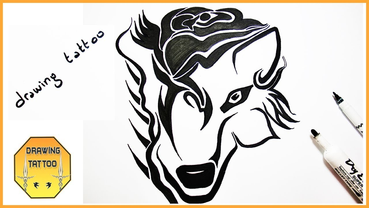 Wolf Flower Tattoo Design Drawing Youtube